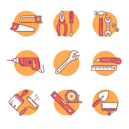 herramientas de carpinteria: herramientas de su casa y conjunto de hardware. iconos del arte de la forma. ilustraciones de estilo planos aislados en blanco. Vectores