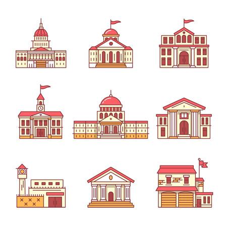 Overheid en onderwijs gebouwen vaststellen. Dunne lijn pictogrammen. Vlakke stijl illustraties geïsoleerd op wit.