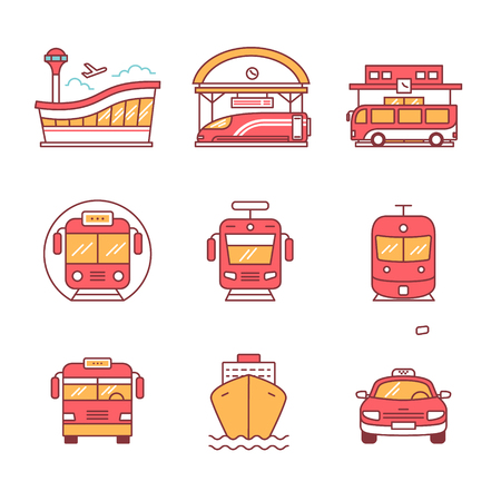 water transportation: Modern transportation and urban infrastructure set. Road, rail and water city transportation stations signs. Thin line art icons. Flat style illustrations isolated on white. Illustration