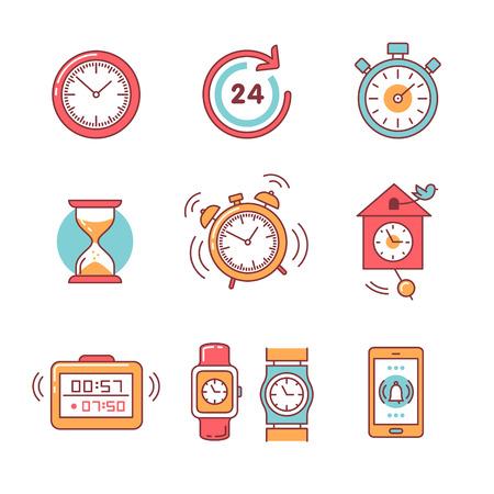 アラーム時計、タイマー、時計セットの種類。細い線アート アイコン。フラット スタイルのイラストが白で隔離。