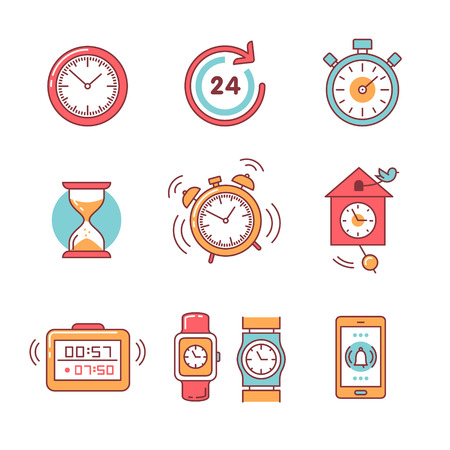 countdown clock: Types of alarms clocks, timers and watches set. Thin line art icons. Flat style illustrations isolated on white. Illustration
