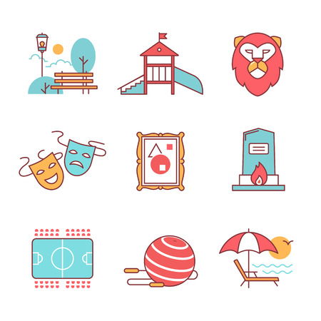centre: Recreation, tourism and sport buildings signs set. For use with maps and internet services interfaces. Thin line art icons. Flat style illustrations isolated on white.