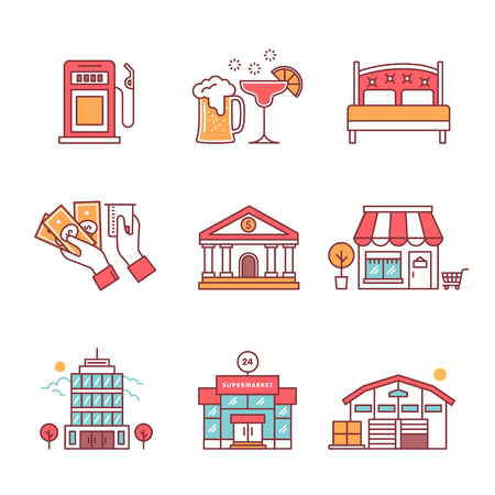 goods station: Commercial buildings sings set. Thin line art icons. Flat style illustrations isolated on white.