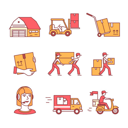 people moving: Warehouse, wholesale, services and delivery transportation signs set. Thin line art icons. Flat style illustrations isolated on white.