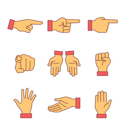 Hand gestures signs set. Thin line art icons. Flat style illustrations isolated on white. Vettoriali