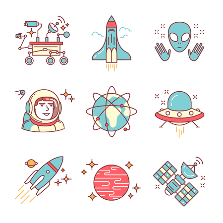 Cosmos exploration sings set. Planets, rockets, lander, satellites and astronaut in helmet. Oh, forgot about alien and his ship. Thin line art icons. Flat style illustrations isolated on white. Illustration