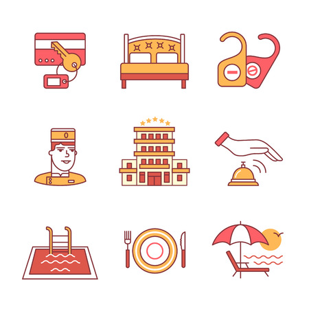beach: Hotel signs set. Thin line art icons. Flat style illustrations isolated on white.