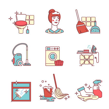 dust pan: Home cleaning, washing and tidying signs set. Thin line art icons. Flat style illustrations isolated on white. Illustration