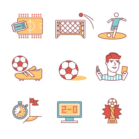yellow card: Soccer game signs set. Thin line art icons. Flat style illustrations isolated on white. Illustration