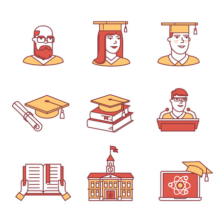 University and academic education signs set. Thin line art icons. Flat style illustrations isolated on white.