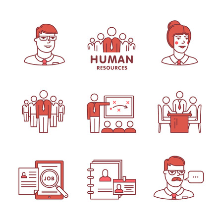 men at work sign: Human resources, team work and building signs set. Thin line art icons. Flat style illustrations isolated on white. Illustration