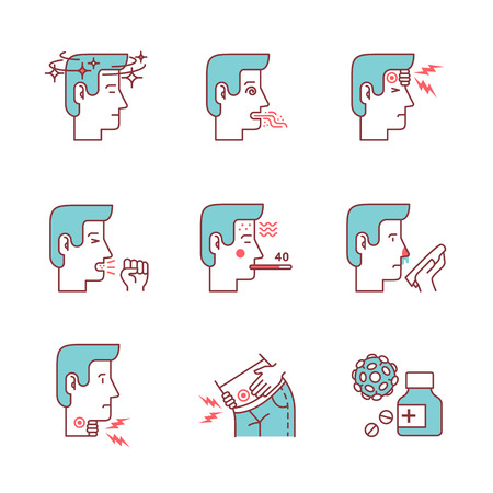 snivel: Human illness and diseases symptoms signs set. Ill man avatars. Thin line art icons. Flat style illustrations isolated on white.