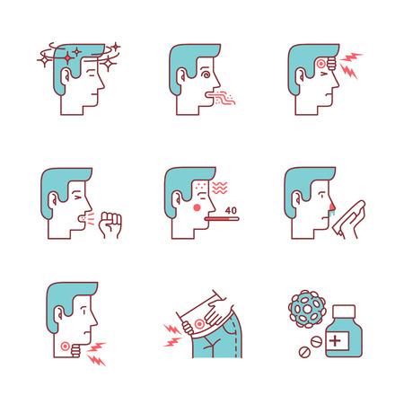 symptômes de la maladie et les maladies humaines signes fixés. avatars de l'homme malade. Minces icônes d'art en ligne. Flat illustrations de style isolé sur blanc.