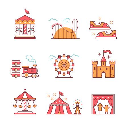 parque de atracciones temático canta establecido. iconos del arte de la forma. ilustraciones de estilo planos aislados en blanco. Ilustración de vector