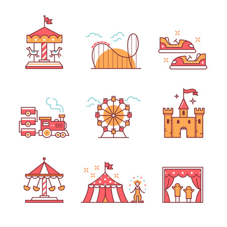 steam roller: Theme amusement park sings set. Thin line art icons. Flat style illustrations isolated on white.