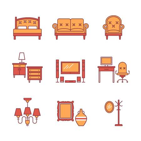 speakers desk: Home furniture signs set. Thin line art icons. Flat style illustrations isolated on white.
