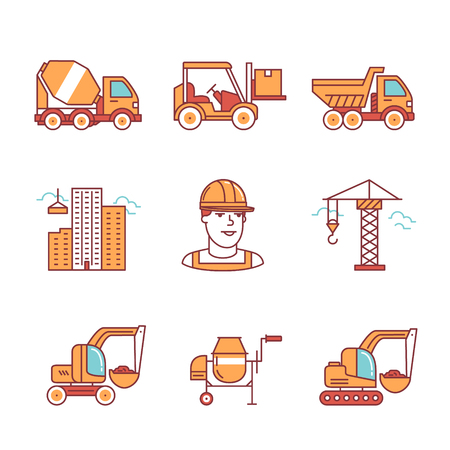 earth moving: Building site engineering and machinery. Thin line art icons. Flat style illustrations isolated on white. Illustration