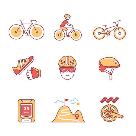 Rower rowerowe i akcesoria rowerowe znak ustawiony. Cienkie ikony grafiki liniowej. Płaskie ilustracje stylu na białym tle.