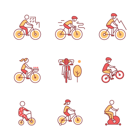 tricycle: Bike types and cycling sign set. Man, woman, kids. Thin line art icons. Flat style illustrations isolated on white. Illustration