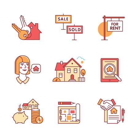 sold homes: Real estate buying, selling and renting signs set. Thin line art icons. Flat style illustrations isolated on white. Illustration