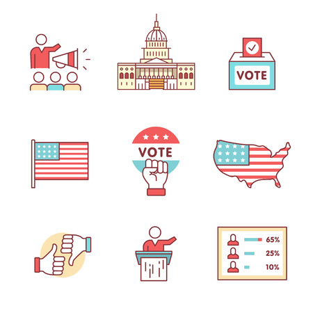 polling station: Elections, campaign and voting signs set. Thin line art icons. Flat style illustrations isolated on white. Illustration
