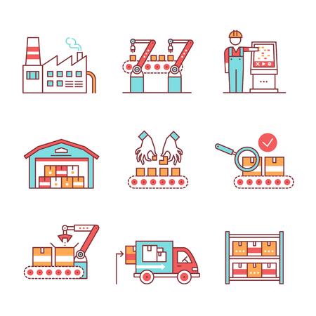 asamblea: líneas de montaje robotizadas y manuales modernos. Embalaje, carga y el inventario del almacén. Iconos del arte de la forma. ilustraciones de estilo planos aislados en blanco.