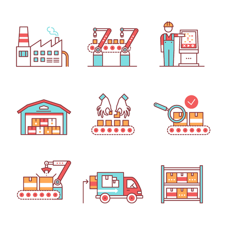 assembly line: Modern robotic and manual manufacturing assembly lines. Packaging, loading and warehouse inventory. Thin line art icons set. Flat style illustrations isolated on white.