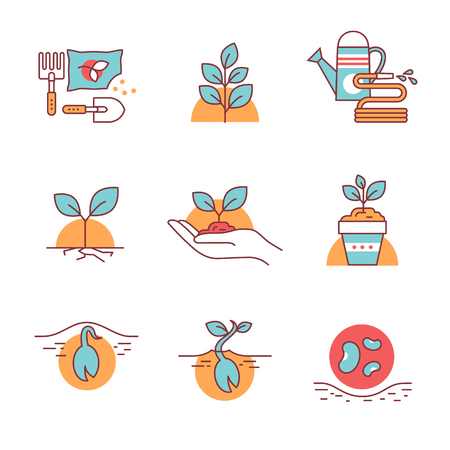 caring hands: Sprouting seeds and home gardening. Thin line art icons. Flat style illustrations isolated on white.