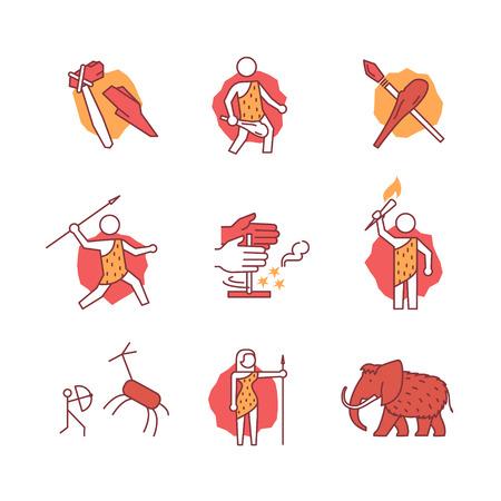 brandweer cartoon: Primitieve prehistorische holbewoner van ijstijd borden set. Dunne lijn pictogrammen. Vlakke stijl illustraties geïsoleerd op wit.
