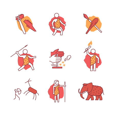 hunter man: Primitive prehistoric caveman of ice age signs set. Thin line art icons. Flat style illustrations isolated on white.
