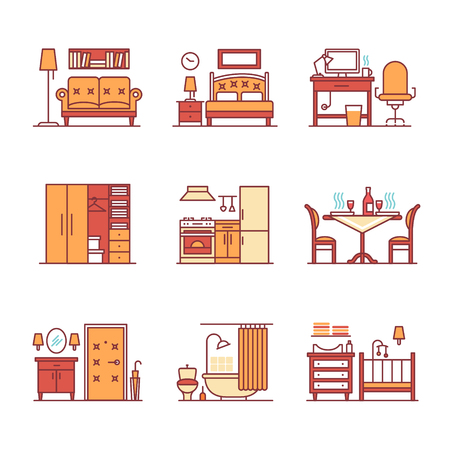 lounge room: Home room types furniture signs set. Thin line art icons. Flat style illustrations isolated on white.
