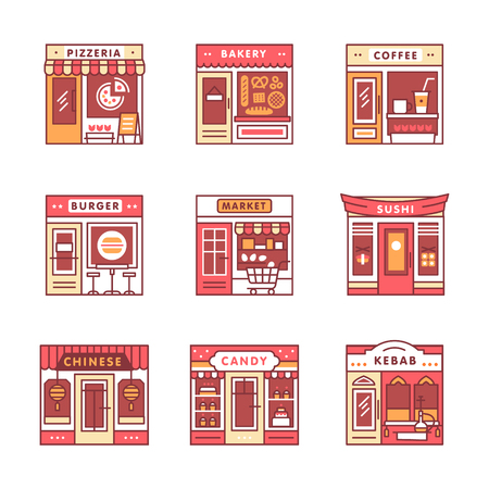 storefronts: City cafe, food and groceries shops and stores buildings storefronts signs set. Thin line art icons. Flat style illustrations isolated on white.