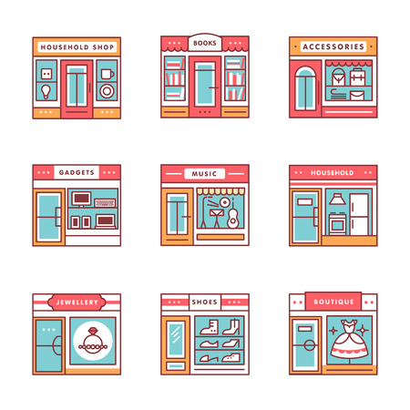 City shops and stores buildings storefronts signs set. Thin line art icons. Flat style illustrations isolated on white.