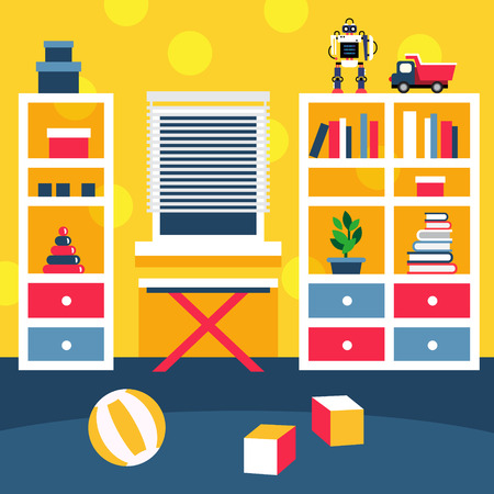 Preschool kid room interior. Small boy playing area with bookshelf and toys on the floor. Flat style vector illustration. Ilustracja