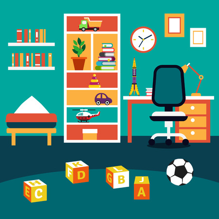 cartoon window: School student boy kid room interior. Bookshelf, studying desk with chair, bed and some toys on the floor. Flat style vector illustration.