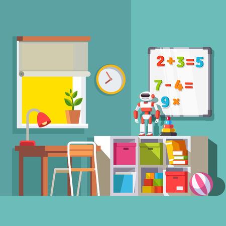 preescolar: Preescolar o estudiante de escuela el sitio del niño interior. mesa de estudio en la ventana, la combinación de almacenaje con cajas de cajón, algunos libros y juguetes robot. Con estilo de ilustración vectorial plana. Vectores