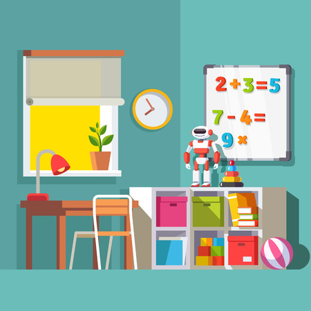 Preschool or school student kid room interior. Study desk at the window, storage combination with drawer boxes, some toys books and robot. With Flat style vector illustration. 矢量图像