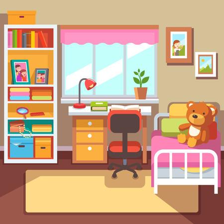 Preescolar o estudiante de escuela Interior del sitio de las niñas. mesa de estudio en la ventana, Estante con las cajas de cajón, algunos libros y marcos de fotos, la cama con osito de peluche. Con estilo de ilustración vectorial plana.