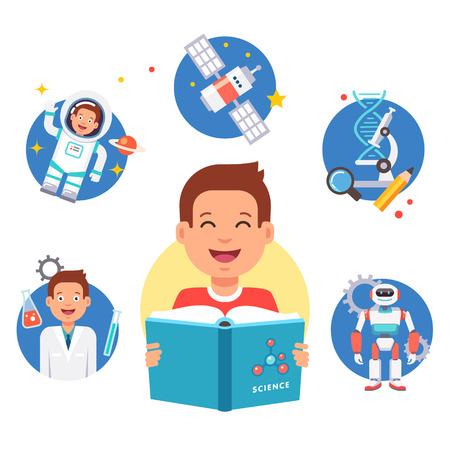 niños estudiando: Chico joven que aprende la ciencia. estudiante de la escuela estudiando el libro de lectura y de sueño sobre la profesión futura. ilustración vectorial de estilo plano y los iconos aislados sobre fondo blanco. Vectores