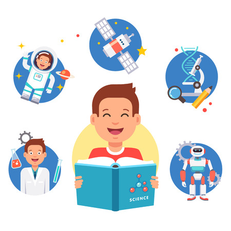 studies: Young science learner kid. School student studying reading book and dreaming about future profession. Flat style vector illustration and icons isolated on white background.