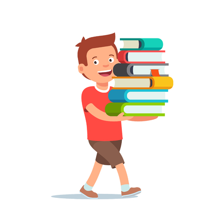 books isolated: Boy kid is walking with big pile of books in his hands. Flat style vector illustration isolated on white background. Illustration
