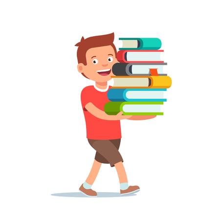 niño chico está caminando con gran pila de libros en sus manos. ilustración vectorial de estilo plano aislado en el fondo blanco. Ilustración de vector