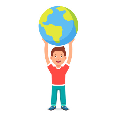 cartoon earth: Young boy kid holding planet earth. Youth holding future in their hands concept symbol. Flat style vector illustration isolated on white background. Illustration