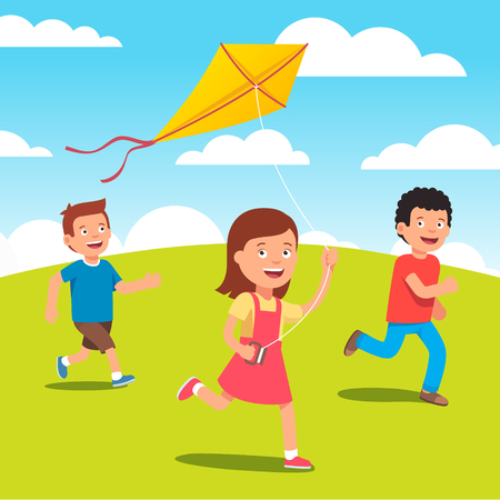 friends together: Kids playing with yellow kite together at the meadow. Flat style vector illustration.