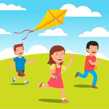 mosca caricatura: Ni�os jugando con la cometa amarilla juntos en el prado. ilustraci�n vectorial de estilo plano.