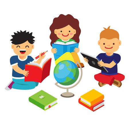 child girl: Group of kids studying and learning together. Boys and girl reading books and doing homework. Flat style vector illustration isolated on white background.