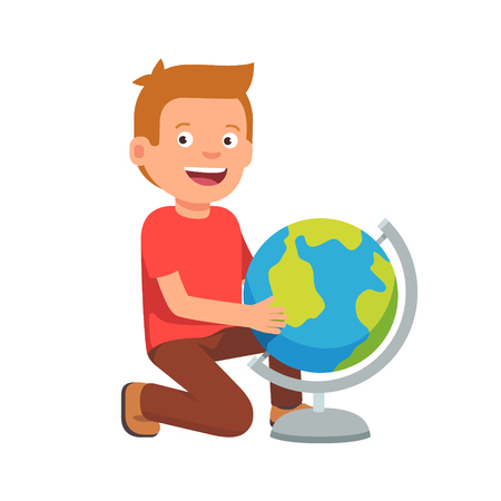 globe  the terrestrial ball: Kid sitting at terrestrial globe. Boy student learning earth geography. Flat style vector illustration isolated on white background.