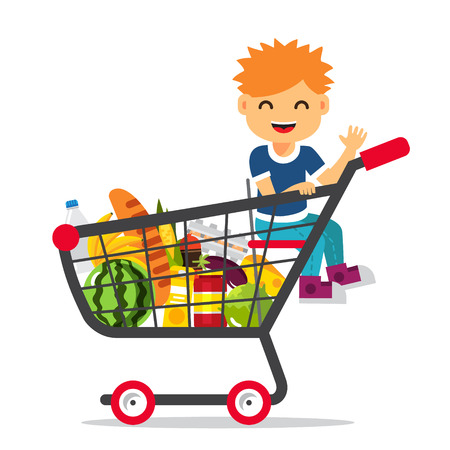 brim: Kid sitting in a supermarket shopping cart full of groceries. Flat style vector illustration isolated on white background.