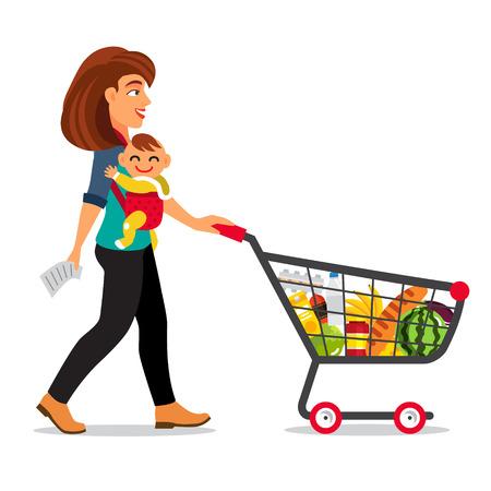 niño empujando: Joven madre con hijo pequeño bebé en un cabestrillo empujando supermercado carrito de la compra lleno de comestibles. ilustración vectorial de estilo plano aislado en el fondo blanco.