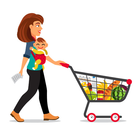 shopping buggy: Young mother with son baby toddler in a sling pushing supermarket shopping cart full of groceries. Flat style vector illustration isolated on white background.
